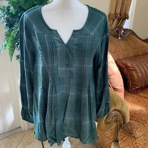 Style & Co green plaid long sleeve blouse